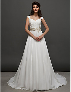 LAN TING BRIDE A-line Princess Wedding Dress Simply Sublime Chapel Train Straps Chiffon with Sash / Ribbon Beading Criss-Cross Ruche