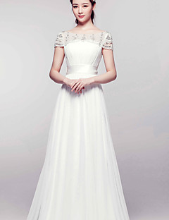 A-line Court Train Wedding Dress -Bateau Chiffon