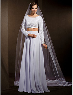 Wedding Veils Women's Elegant Tulle One-tier Lace Applique Edge Veils