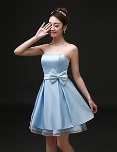 Cocktail Party/Formal Evening Dress A-line Strapless Short/Mini Satin Dress