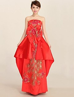 Vestito - Rosso Sera Trapezio Senza Spalline Alle Caviglie Satin elastico
