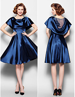A-line Mother of the Bride Dress - Dark Navy Knee-length Short Sleeve Stretch Satin/Lace