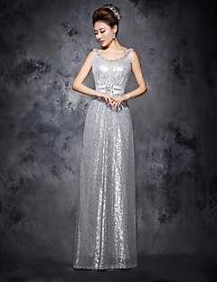 Silvery Prom Dress A-line Scoop Floor-length Sequins Tulle Dress