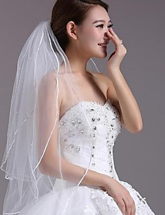 Wedding Veil Three-tier Fingertip Veils Lace Applique Edge 35.43 in (90cm) Tulle Lace