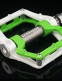 Cycling Aluminium Alloy Convenient Solid  Pedals Green and White with One Pair