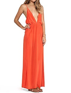 Women's Beach Swing Dress,Solid Deep V Maxi Sleeveless Red / Black / Orange Polyester Summer