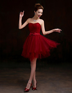 Short/Mini Tulle Bridesmaid Dress - Burgundy A-line Sweetheart