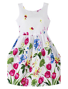 Girls  Floral Sundress Party Birthday Casual Children Clothing Princess Dresses (100% Cotton)