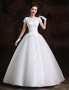 Ball Gown Floor-length Wedding Dress -Bateau Lace