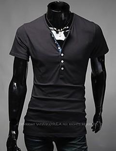 Men's Solid Casual / Plus Sizes T-Shirt,Cotton Blend Short Sleeve-Black / Blue / White / Gray