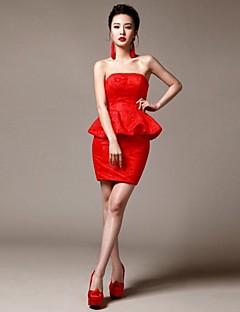Cocktail Party Kleid - Rot Spitze/Matte Satin mini - trägerloser Ausschnitt