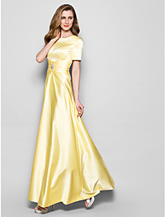 A-line Mother of the Bride Dress - Daffodil Floor-length Short Sleeve Satin