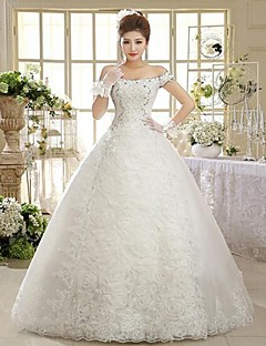 Ball Gown Floor-length Wedding Dress -Off-the-shoulder Tulle