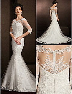 Trumpet/Mermaid Wedding Dress - Ivory Court Train Scoop Lace