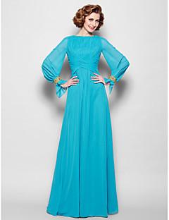 Lanting Bride® גזרת A פלאס סייז (מידה גדולה) / פטיט שמלה לאם הכלה  עד הריצפה שרוול ארוך שיפון - חרוזים / פרטים מקריסטל / תד נשפך / בד