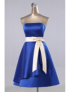 Knee-length Satin Bridesmaid Dress - A-line Strapless with Pockets