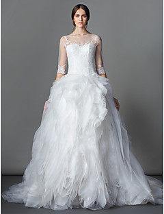 Lan Ting Ball Gown Wedding Dress - Ivory Court Train Bateau Lace / Organza
