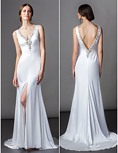 Lan Ting A-line Wedding Dress - Ivory Sweep/Brush Train V-neck Satin Chiffon