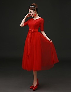 Cocktail Party Dress - Ruby Plus Sizes A-line Jewel Tea-length Lace / Satin