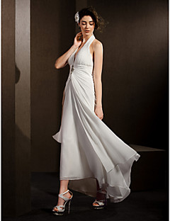 Lanting Bride Sheath/Column Petite / Plus Sizes Wedding Dress-Asymmetrical Halter Chiffon