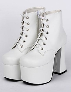 White PU Leather 9.5CM High Heel Punk Lolita Shoes with Row