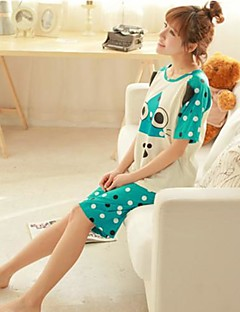 Women's 6535 Knitting A Cotton Padded Covering Head Cartoon Comfortable Leisure Wear Suits With Short Sleeves