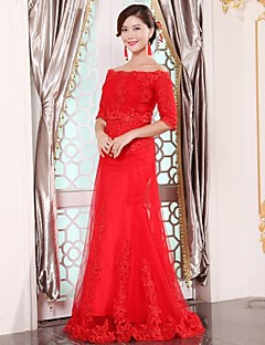 Prom/Wedding Party Dress A-line Off-the-shoulder Floor-length Tulle Dress