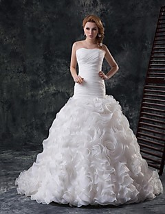 Vestido de Boda - Blanco Ajustado y Ancho Catedral - Sin Tirantes Organza