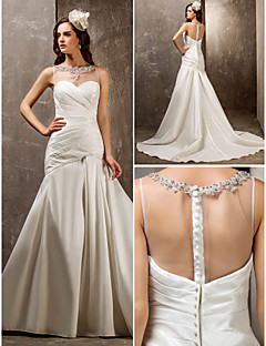 LAN TING BRIDE Fit & Flare Wedding Dress - Elegant & Luxurious Glamorous & Dramatic See-Through Sweep / Brush Train SweetheartTulle Nylon