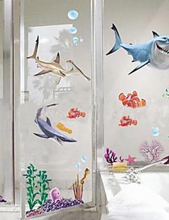 tiburón extraíble de la etiqueta de la pared bajo el agua en forma de mundo