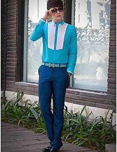 Классический - Рубашка ( Белый/Небесно-голубой , Хлопок/Полиэфир ) Однотонный - Длинные