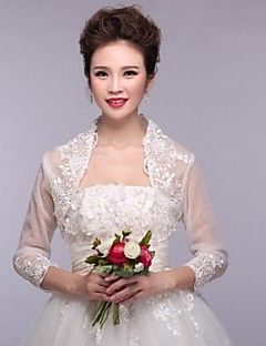 Wedding Wraps Boleros 3/4-Length Sleeve Lace White Bolero Shrug