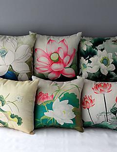 set om 6 landsbygden stil lotus mönstrad bomull / linne dekorativa örngott