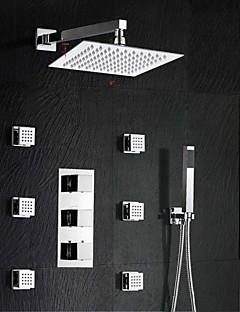 現代風 壁式 サーモスタットタイプ with  真鍮バルブ 3つのハンドル三穴 for  クロム , シャワー水栓