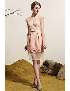 Sheath/Column V-neck Short/Mini Nylon Taffeta Evening Dress