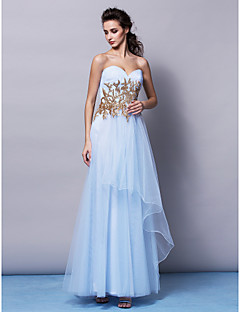 Formal Evening Dress - Sky Blue A-line Sweetheart Sweep/Brush Train Tulle