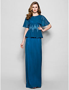 Sheath/Column Plus Sizes / Petite Mother of the Bride Dress - Ink Blue Floor-length Short Sleeve Chiffon / Lace