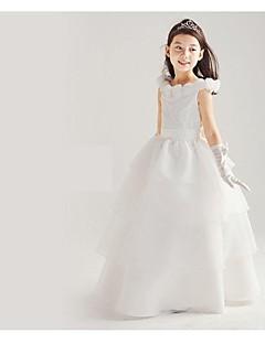 Prinses Vloer Lengte Bloemenmeisje jurk - Katoen/Organza/Taf Mouwloos