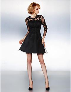 regreso a casa vestido de cóctel - negro una línea de joyas corto / mini de tul
