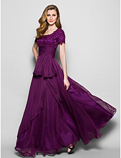 Lanting A-line Plus Sizes / Petite Mother of the Bride Dress - Grape Floor-length Short Sleeve Chiffon / Lace
