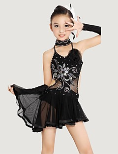 Taniec latynoamerykański Outfits Dla dzieci Wydajność Poliester / Lycra Kryształy / Rhinestones / Kwiat (y) Bez rękawów NaturalnySukienki
