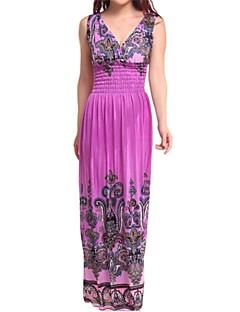 Women's Beach / Plus Size Boho Swing Dress,Print V Neck Maxi Sleeveless Blue / Red / Yellow / Purple Cotton / Polyester Summer High Rise