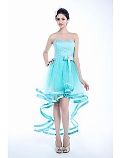칵테일 파티 드레스 - 스카이 블루 A라인 발목 길이/비대칭 스위트하트 명주그물