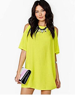Women's Casual/Daily / Plus Size Dress,Solid Crew Neck Above Knee Short Sleeve White / Black / Yellow Polyester Summer Micro-elastic Thin