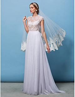 A 라인 / 공주 몸집이 작은 lanting / 플러스은 웨딩 드레스 크기 - 아이보리 청소 / 브러쉬 기차 보석 레이스 / 얇은 명주 그물