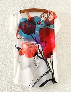Tryck Kortärmad T-shirt Kvinnors Rund hals Bommulsblandning