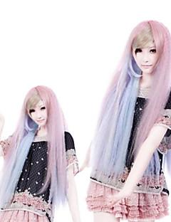 Fantacy Melody Pink And Blue Mixed Straight Long Punk Lolita Wig