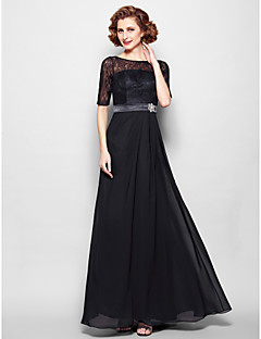 Lanting Bride® A-line Plus Size / Petite Mother of the Bride Dress Floor-length Half Sleeve Chiffon / Lace withLace / Sash / Ribbon /