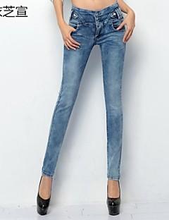 vintage das mulheres / sexy / bodycon / casuais micro-elástica calças de jeans médio (denim)