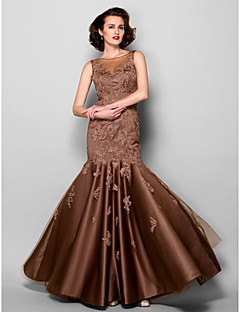 Trumpet / Mermaid Plus Size / Petite Mother of the Bride Dress Floor-length Sleeveless Satin / Tulle with Lace